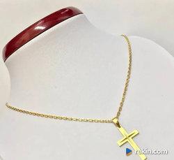 Złoty ŁAŃCUSZEK damski 14K kuty ANKIER krzyżyk