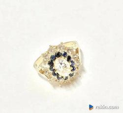 Złoty PIERŚCIONEK 14K piękne SZAFIRY kamienie CUD