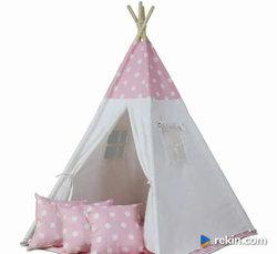 Namiot tipi dla dzieci + mata + poduszki - różowy