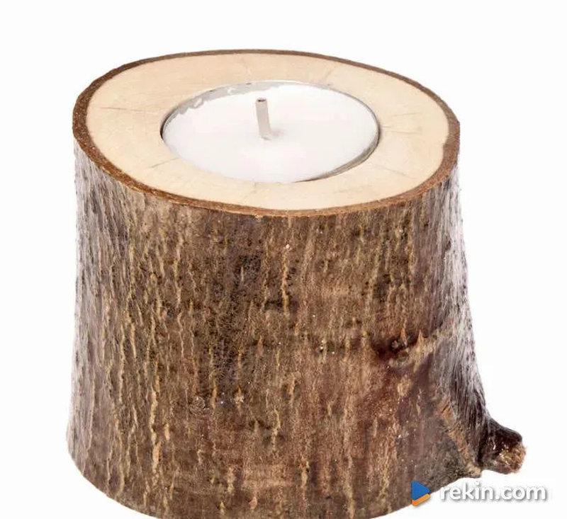 Świecznik drewniany Orzech 6cm wysoki OZDOBY RUSTYKALNE