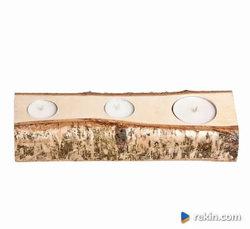 LAKIEROWANY Świecznik drewniany Brzoza 27cm RUSTYKALNE