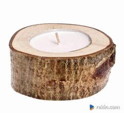 Świecznik drewniany Orzech 10cm OZDOBY RUSTYKALNE