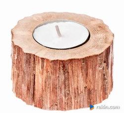 Świecznik drewniany Grab 5cm OZDOBY RUSTYKALNE