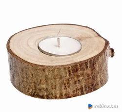 Świecznik drewniany Orzech 10cm 4 cm świeczka RUSTYKALNE