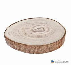 Plaster Talerz drewna Orzech 15 cm SZLIFOWANA KORA