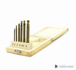 Zestaw wierteł frez. HSS-TiN metal/drewno 3-8 mm 6 szt