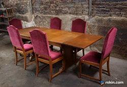 *Rzeźbiony stół z 6 krzesłami* transport