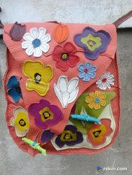 Artystyczna łososiowa torba z kwiatami. Handmade