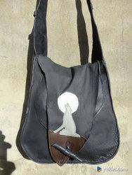 Artystyczna torba skórzana z wilkiem.    Handmade