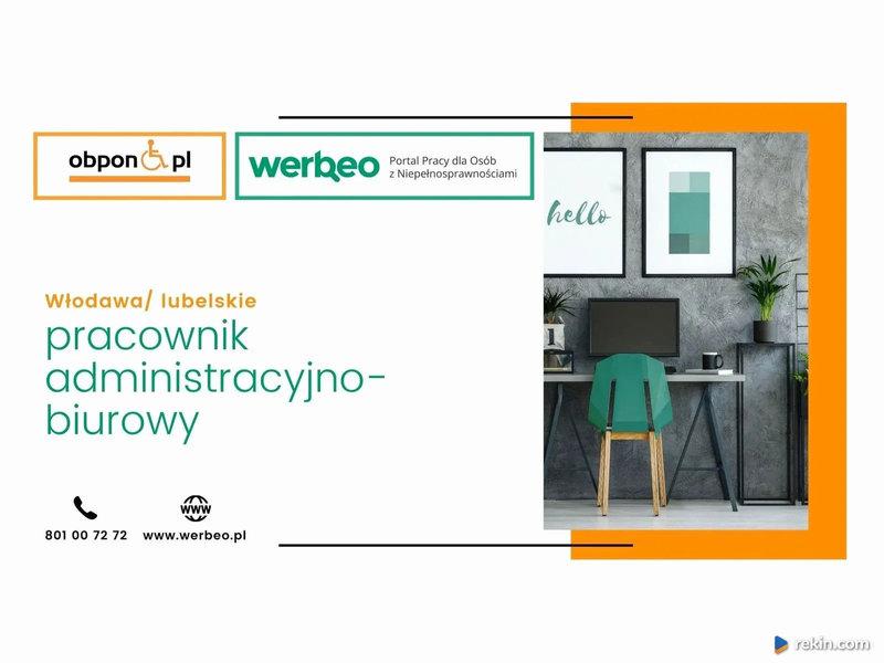 Pracownik Administracyjno - Biurowy z orzeczeniem, Włodawa/lubelskie